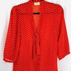 PINS & NEEDLES red sheer blouse with tie